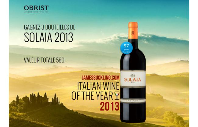 Gagnez 3 bouteilles de vin SOLAIA 2013